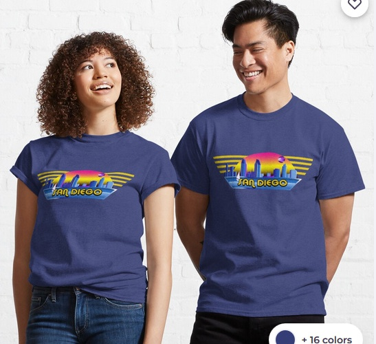 San diego eighties landsacape t-shirt for both male and female now available at Red bubble